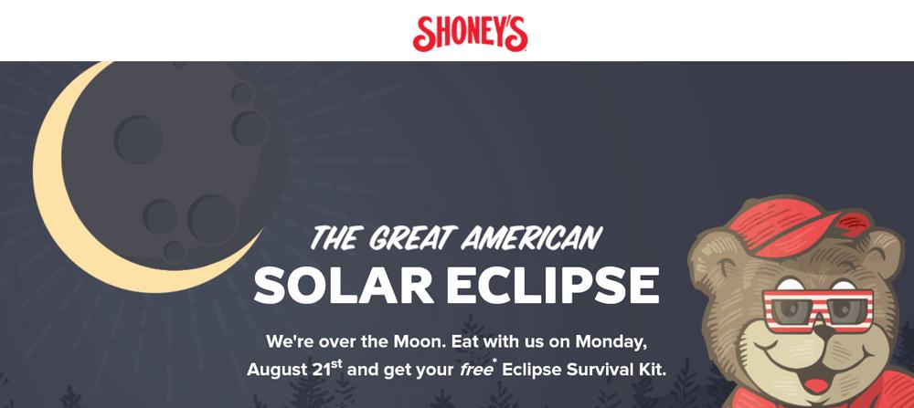Shoneys Coupon October 2017 Free eclipse kit today at Shoneys restaurants