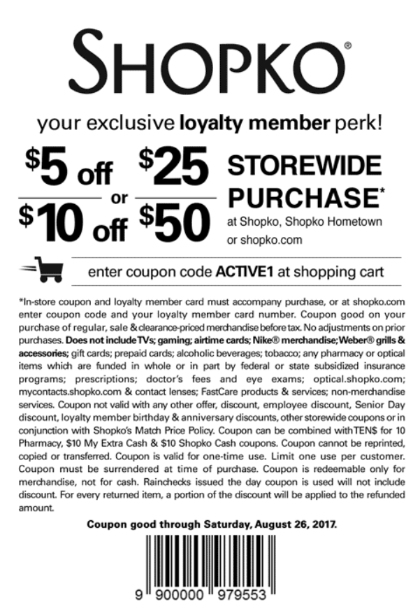 Shopko Coupon August 2018 $5 off $25 & more at Shopko, or online via promo code ACTIVE1
