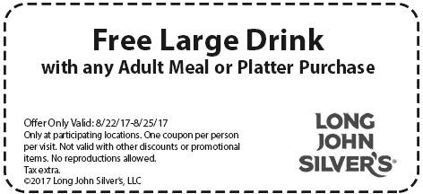 Long John Silvers Coupon August 2018 Free drink with your meal at Long John Silvers