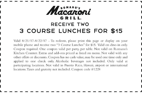 Macaroni Grill Coupon March 2019 2 lunches = $15 today at Macaroni Grill