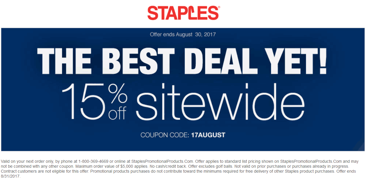 Staples.com Promo Coupon 15% off everything online at Staples via promo code 17AUGUST