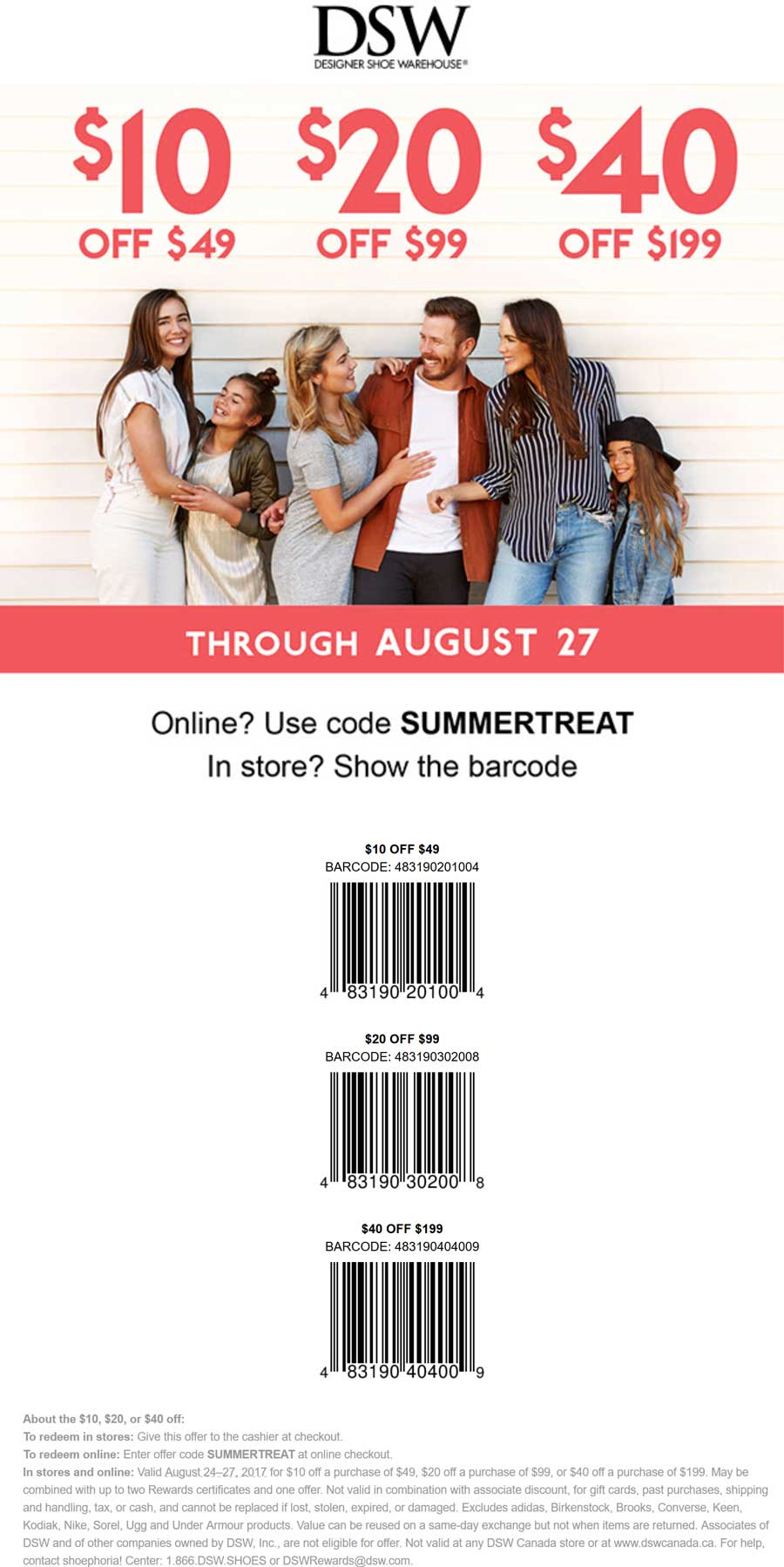 DSW.com Promo Coupon $10 off $49 & more at DSW Shoe Warehouse, or online via promo code SUMMERTREAT