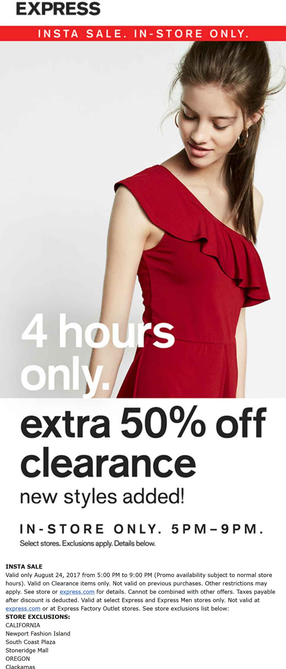 Express Coupon April 2019 Extra 50% off clearance 5-9p tonight at Express