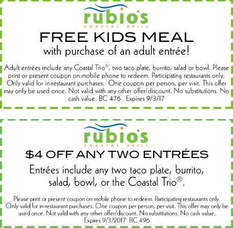 Rubios Coupon October 2018 $4 off & free kids meal at Rubios coastal grill