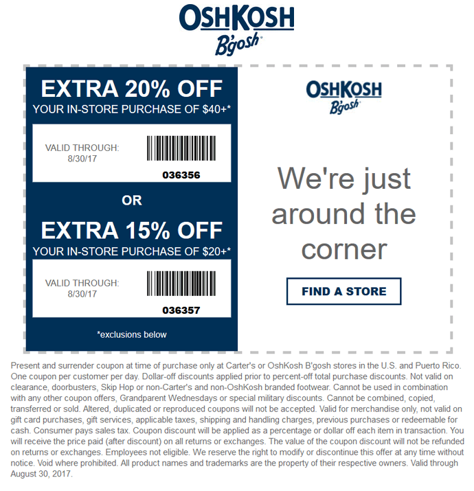 OshKosh Bgosh Coupon October 2018 15-20% off at OshKosh Bgosh