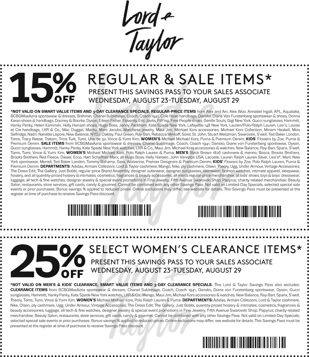 Lord & Taylor Coupon December 2018 15% off & more at Lord & Taylor, or online via promo code FASHION