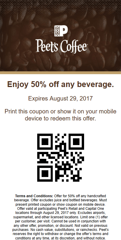 PeetsCoffee&Tea.com Promo Coupon 50% off your drink at Peets Coffee & Tea