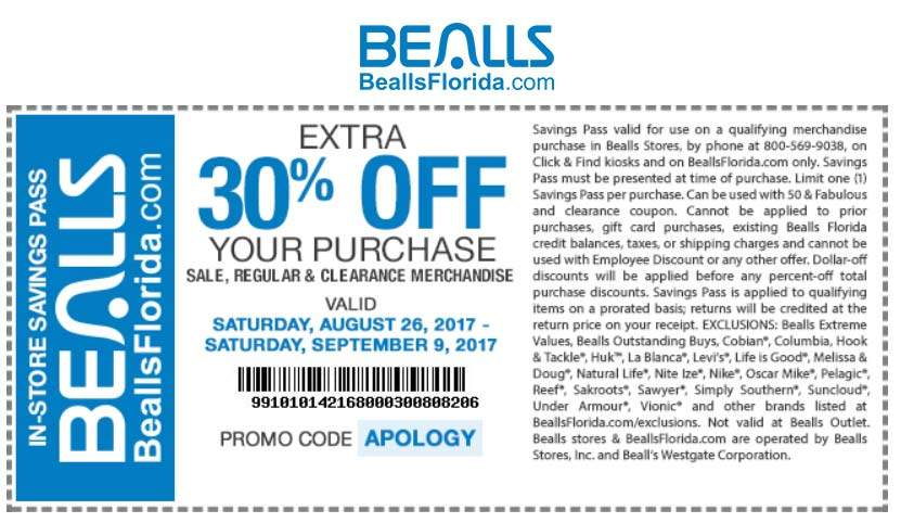 Bealls.com Promo Coupon Extra 30% off at Bealls, or online via promo code APOLOGY