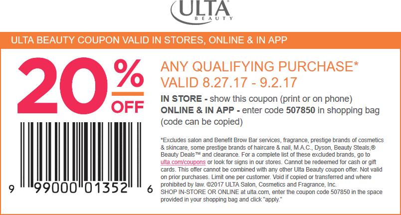 Ulta.com Promo Coupon 20% off at Ulta Beauty, or online via promo code 507850