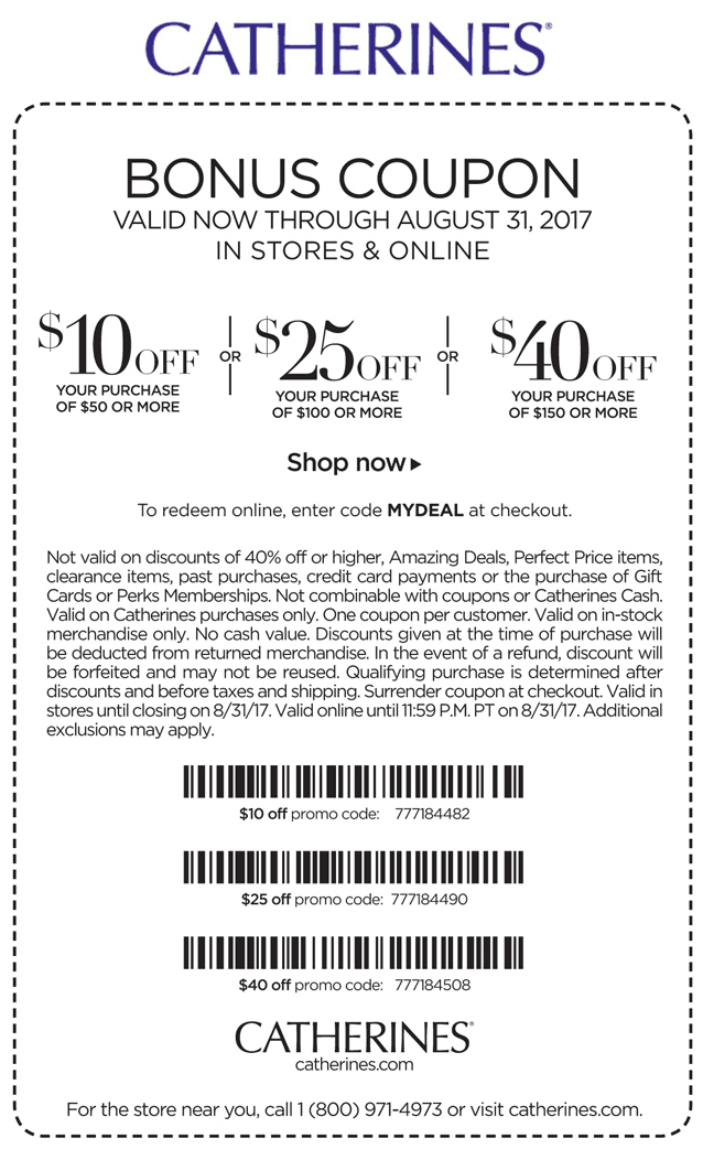 Catherines Coupon March 2019 $10 off $50 & more today at Catherines, or online via promo code MYDEAL