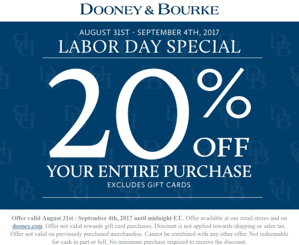 Dooney&Bourke.com Promo Coupon 20% off everything at Dooney & Bourke, ditto online