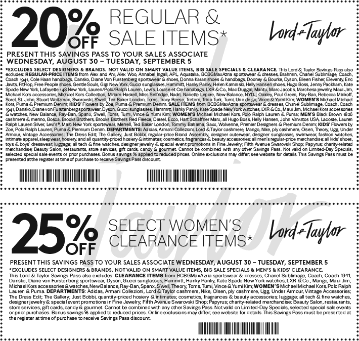 Lord & Taylor Coupon August 2018 Extra 20% off at Lord & Taylor, or online via promo code LABORDAY