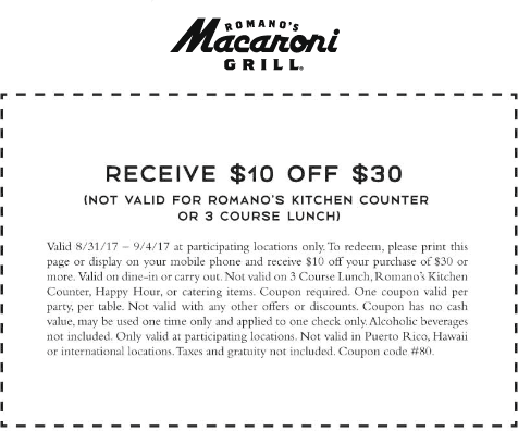 Macaroni Grill Coupon August 2018 $10 off $30 at Macaroni Grill restaurants