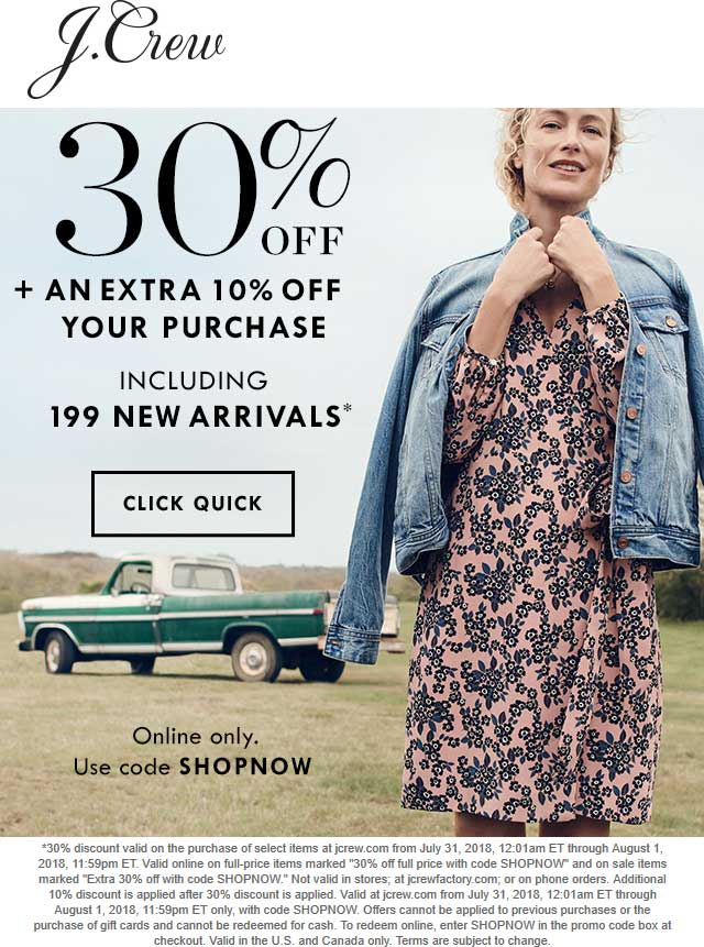J.Crew Coupon November 2018 40% off online today at J.Crew via promo code SHOPNOW