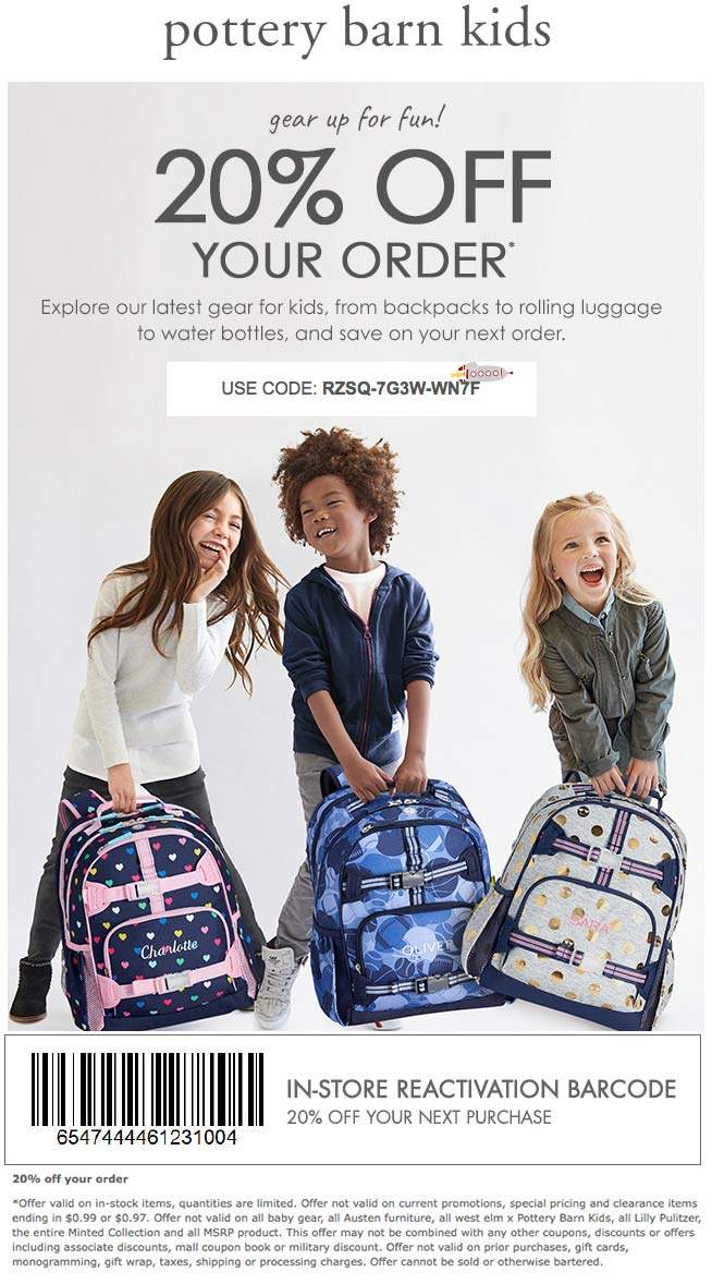 Pottery Barn Kids Coupon December 2018 20% off at Pottery Barn Kids, or online via promo code RZSQ-7G3W-WN7F