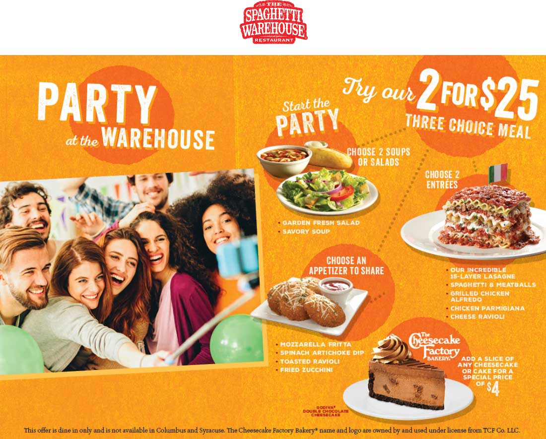 Spaghetti Warehouse Coupon March 2019 2 entrees + 2 soup or salads + appetizer = $25 at Spaghetti Warehouse