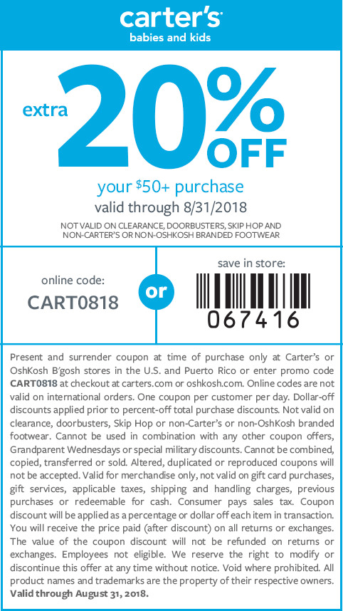 Carters Coupon October 2018 Extra 20% off $50 at Carters, or online via promo code CART0818