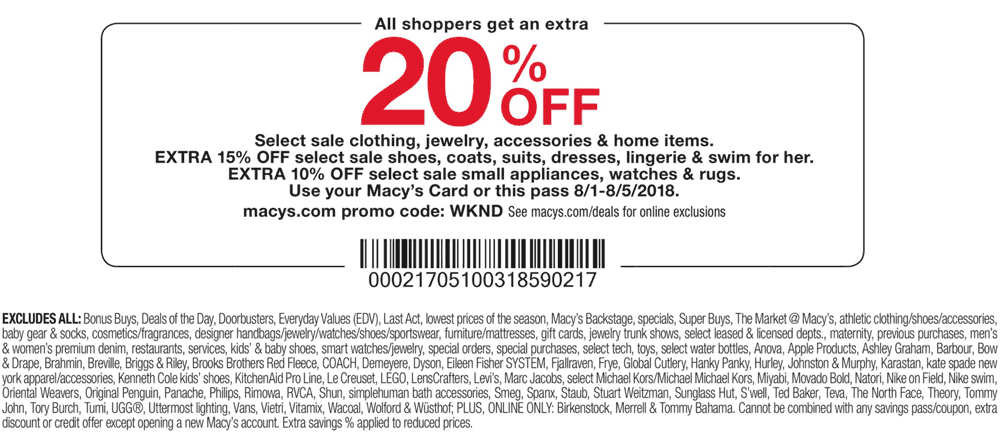 Macys Coupon August 2018 20% off at Macys, or online via promo code WKND