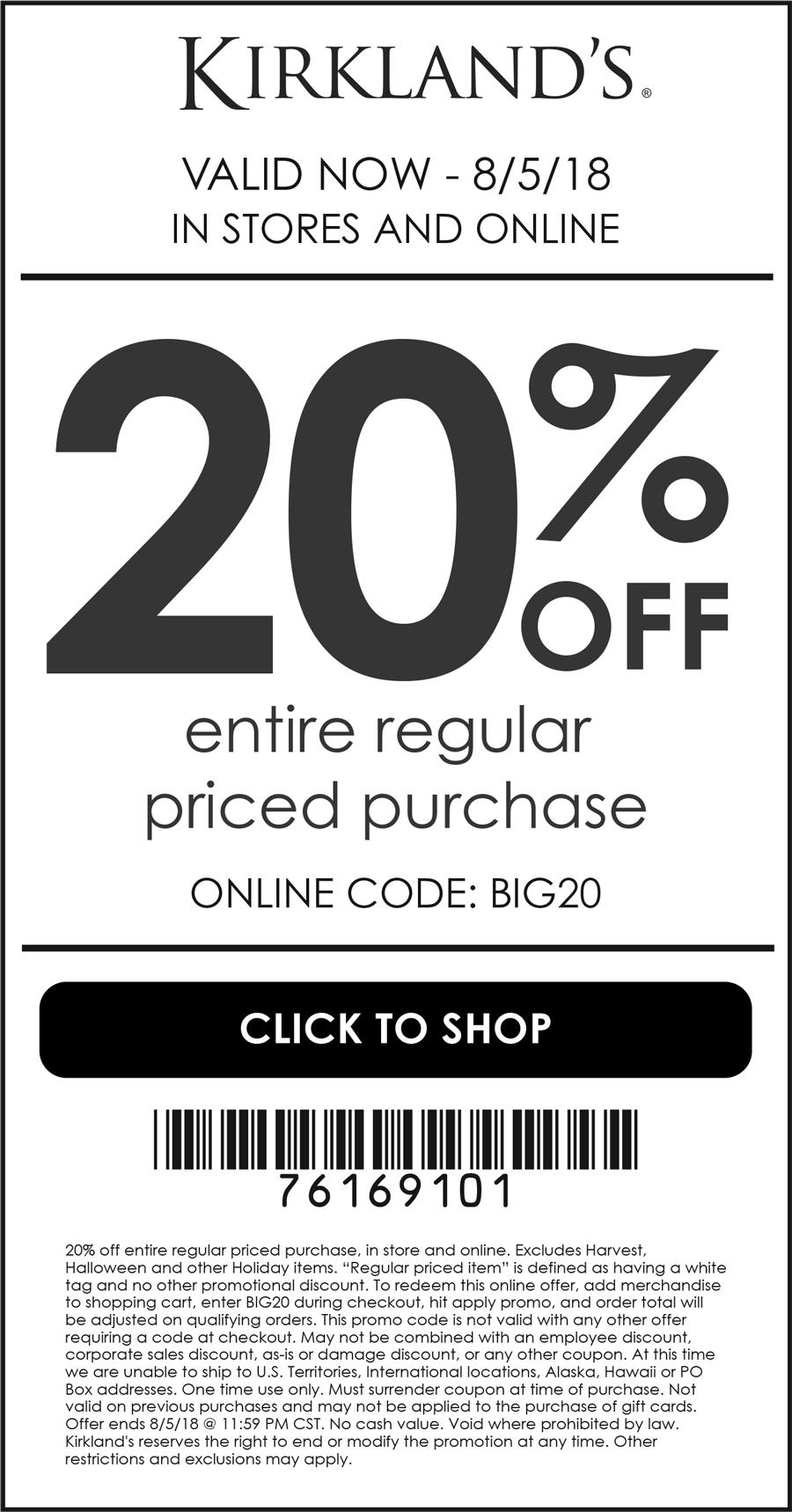 Kirklands Coupon October 2018 20% off at Kirklands, or online via promo code BIG20