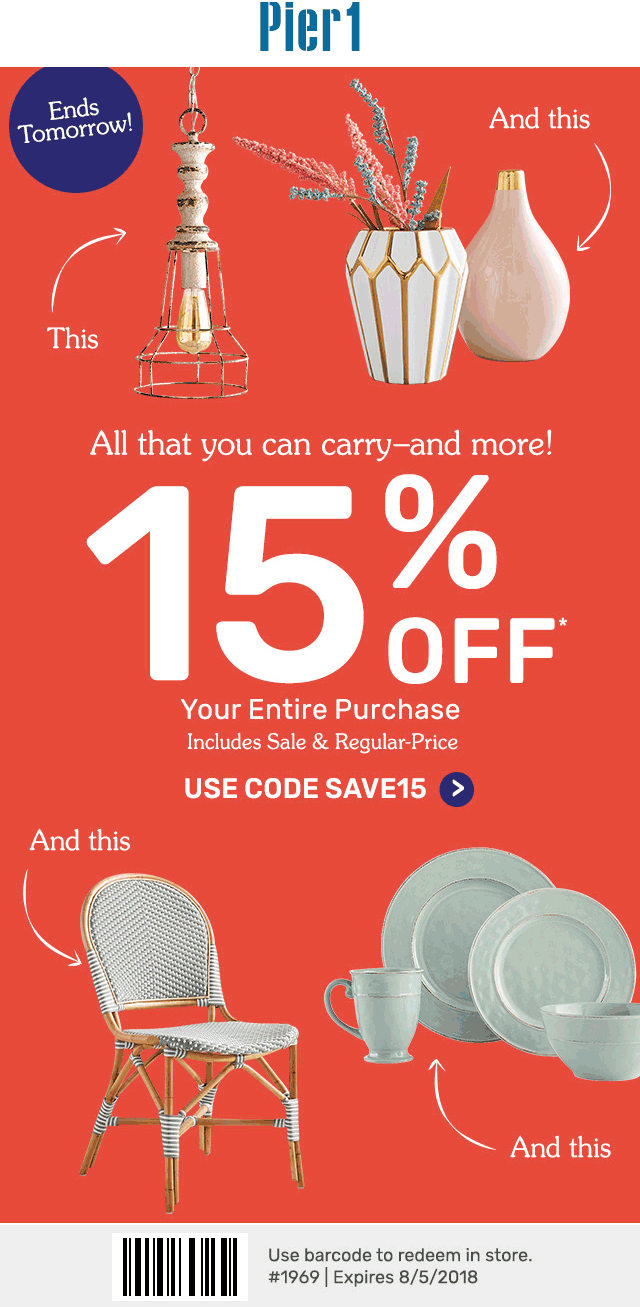 Pier 1 Coupon August 2018 15% off today at Pier 1 Imports, or online via promo code SAVE15