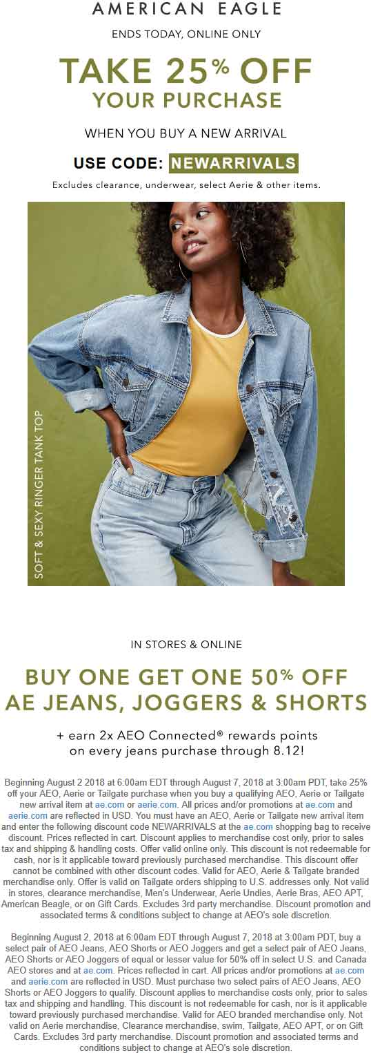 American Eagle Coupon August 2018 25% off new arrivals online today at American Eagle via promo code NEWARRIVALS