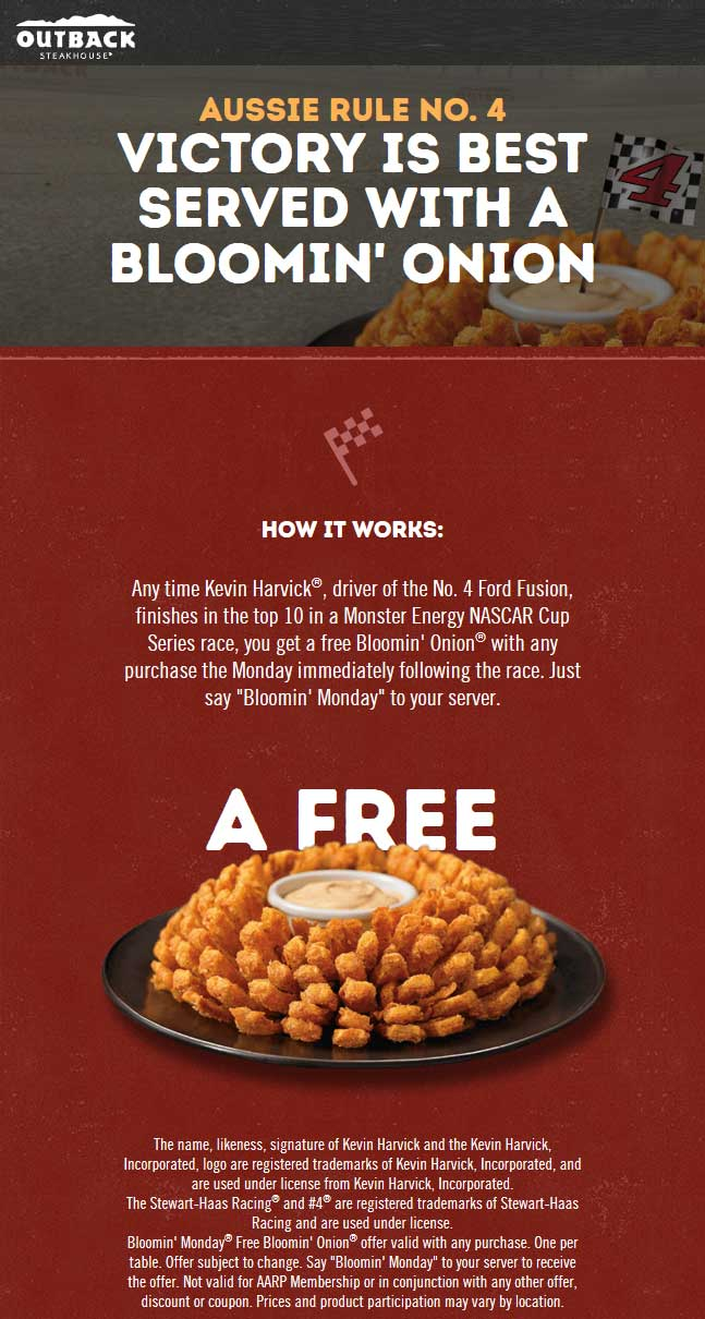 Outback Steakhouse Coupon August 2019 Free bloomin onion today at Outback Steakhouse restaurants