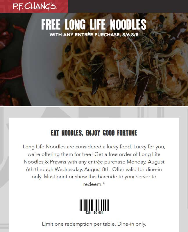 P.F. Changs Coupon December 2018 Free long life noodles with your entree at P.F. Changs