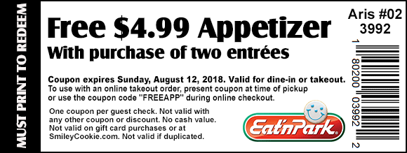 Eat N Park Coupon August 2018 Free appetizer with your entrees at Eat N Park