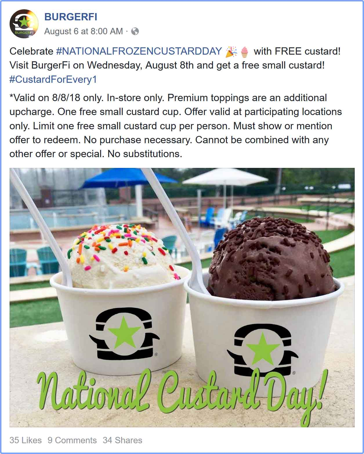 BURGERFI Coupon October 2018 Free custard today at BURGERFI restaurants