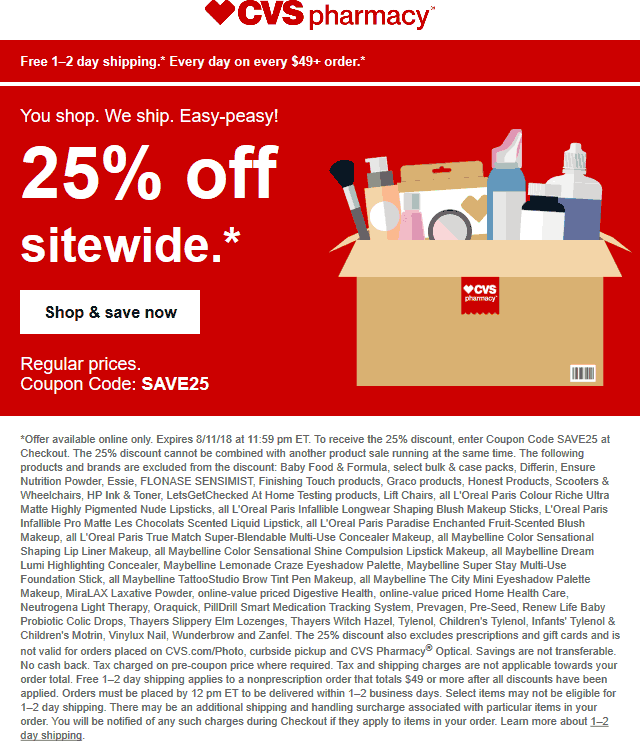 CVS Pharmacy Coupon November 2018 25% off online at CVS Pharmacy via promo code SAVE25