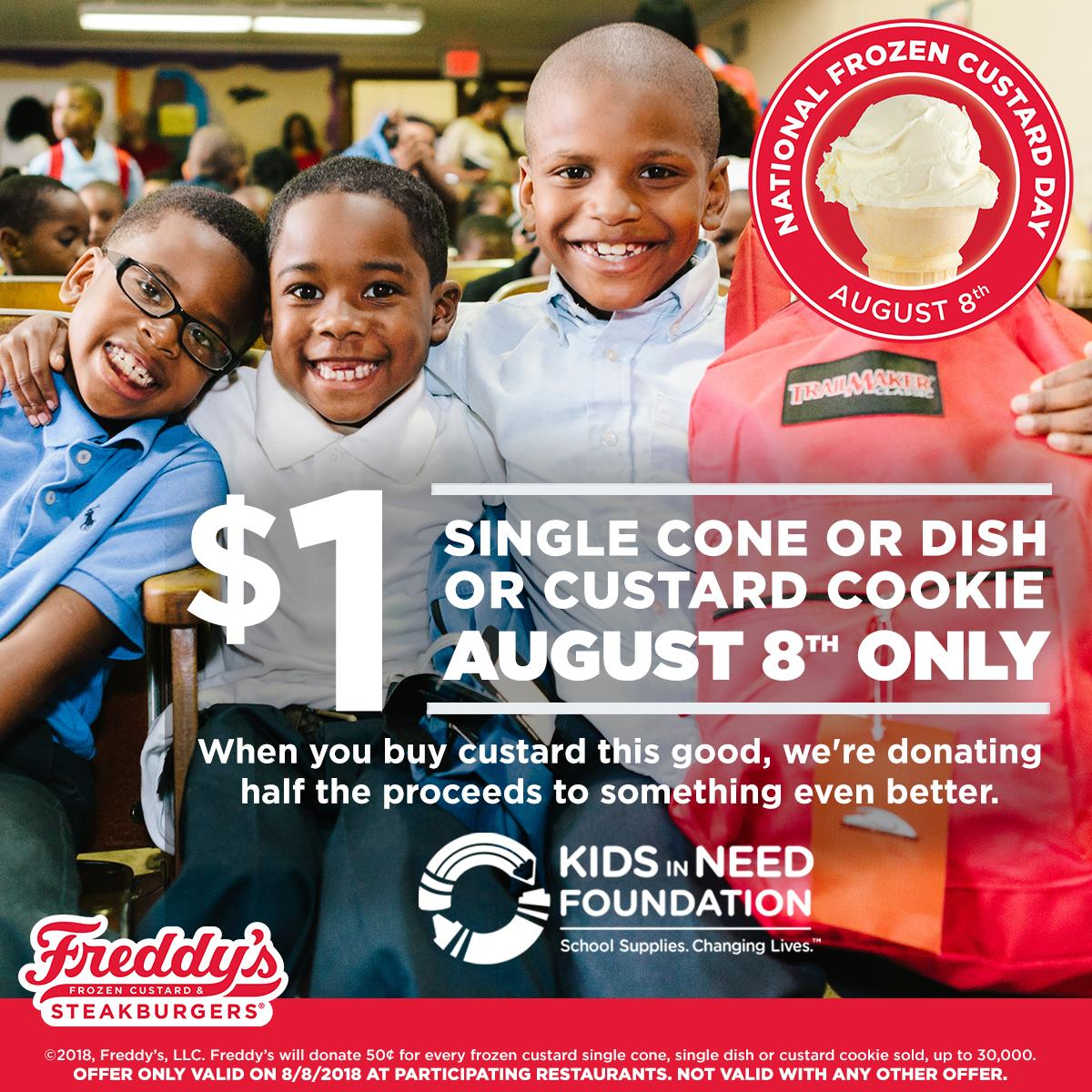Freddys Steakburgers Coupon July 2019 $1 custard cone, dish or cookie today at Freddys Steakburgers restaurants