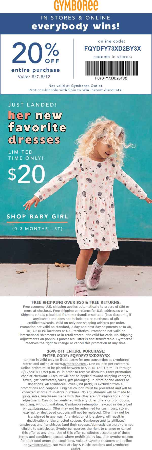 Gymboree.com Promo Coupon 20% off at Gymboree, or online via promo code FQYDFY73XD2BY3X