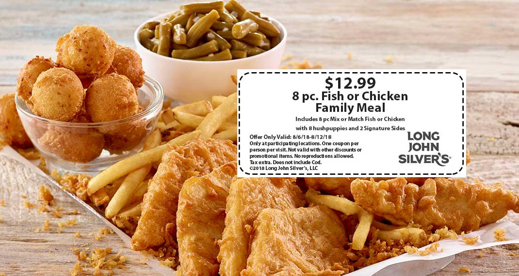 Long John Silvers Coupon August 2018 8pc family meal = $13 at Long John Silvers