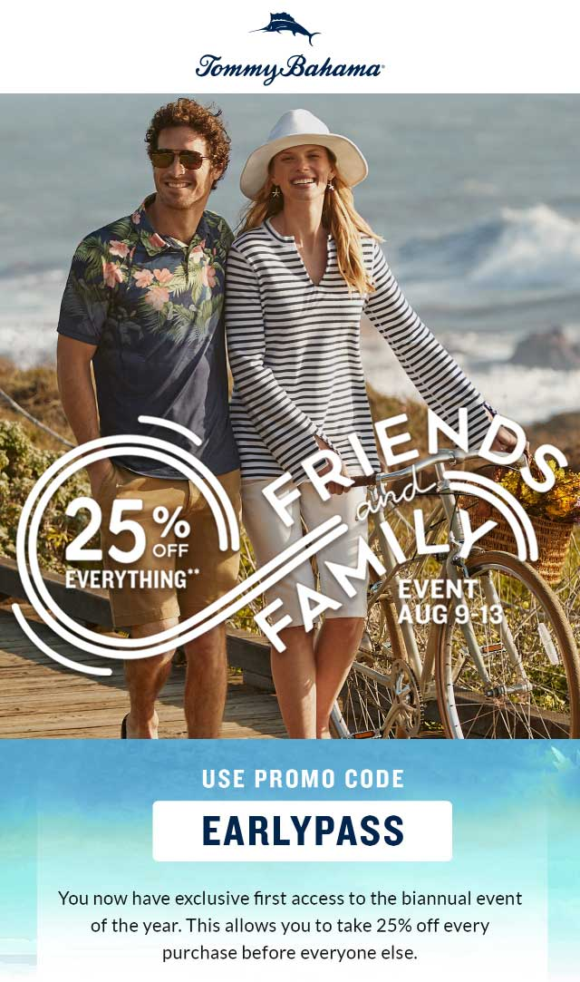 Tommy Bahama Coupon March 2019 25% off online at Tommy Bahama via promo code EARLYPASS