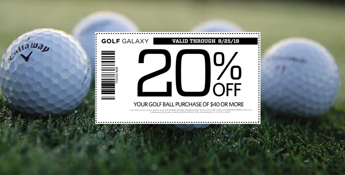 Golf Galaxy Coupon September 2019 20% off $40 on golf balls at Golf Galaxy