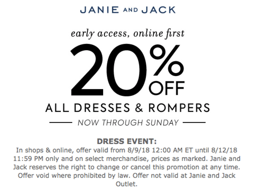 Janie and Jack Coupon February 2019 20% off dresses at Janie and Jack, ditto online