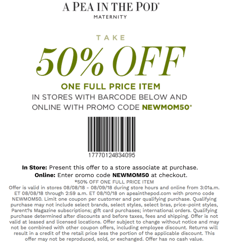 A Pea in the Pod Coupon December 2019 50% off a single item today at A Pea in the Pod maternity, or online via promo code NEWMOM50