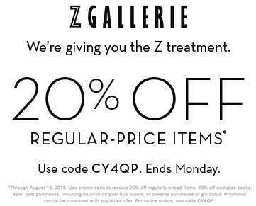 ZGallerie.com Promo Coupon 20% off at Z Gallerie, or online via promo code CY4QP