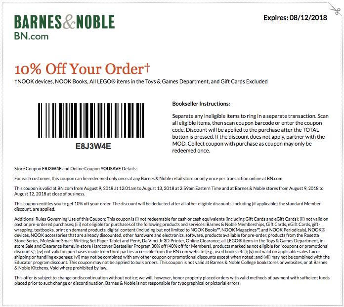 Barnes&Noble.com Promo Coupon 10% off at Barnes & Noble, or online via promo code YOUSAVE