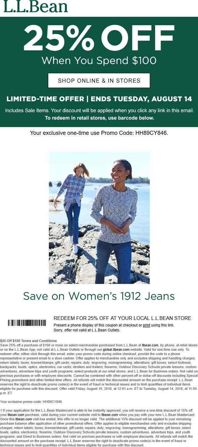 L.L.Bean.com Promo Coupon 25% off $100 at L.L.Bean, or online via promo code DC5159D4A