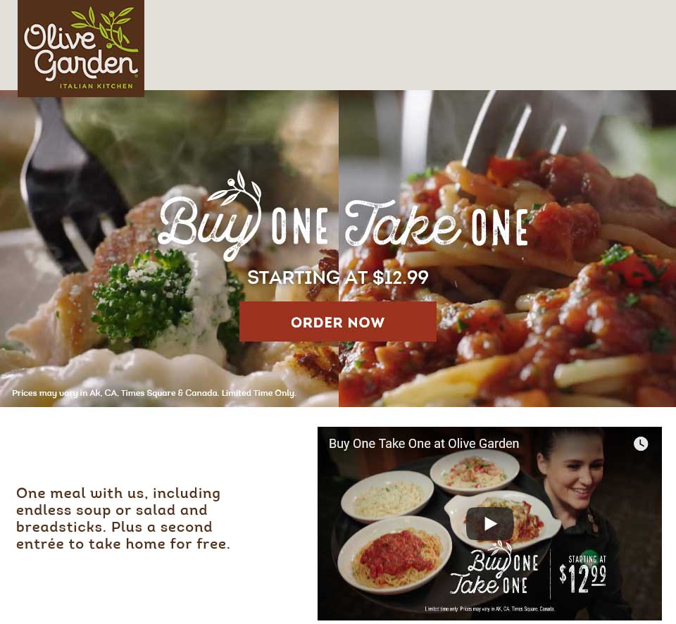 OliveGarden.com Promo Coupon Second meal free as takeout at Olive Garden