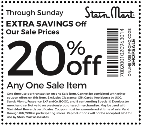 Stein Mart Coupon December 2018 Extra 20% off a sale item at Stein Mart, or onlilne via promo code SHOPSALE