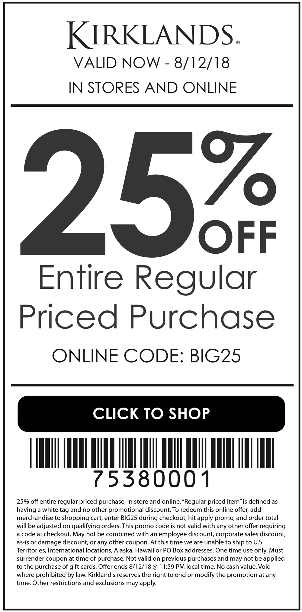 Kirklands Coupon January 2019 25% off at Kirklands, or online via promo code BIG25