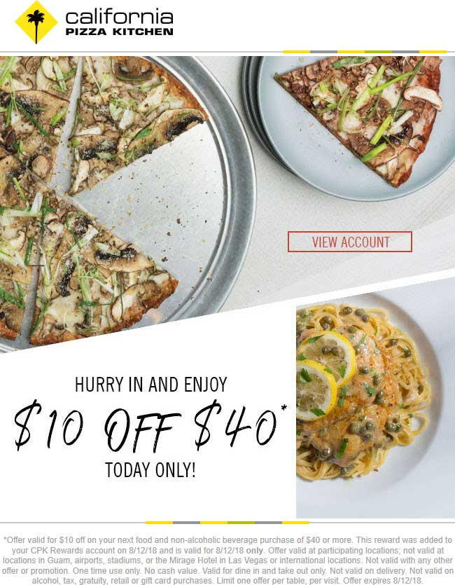 california pizza kitchen coupon october 2018 10 off 40 today at california pizza kitchen restaurants - California Pizza Kitchen Coupon