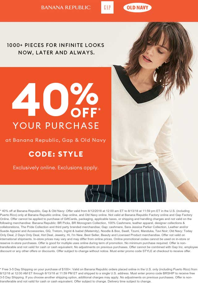Old Navy Coupon April 2019 40% off online at Gap, Banana Republic & Old Navy via promo code STYLE
