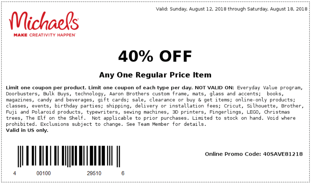 Michaels Coupon January 2019 40% off a single item at Michaels, or online via promo code 40SAVE81218