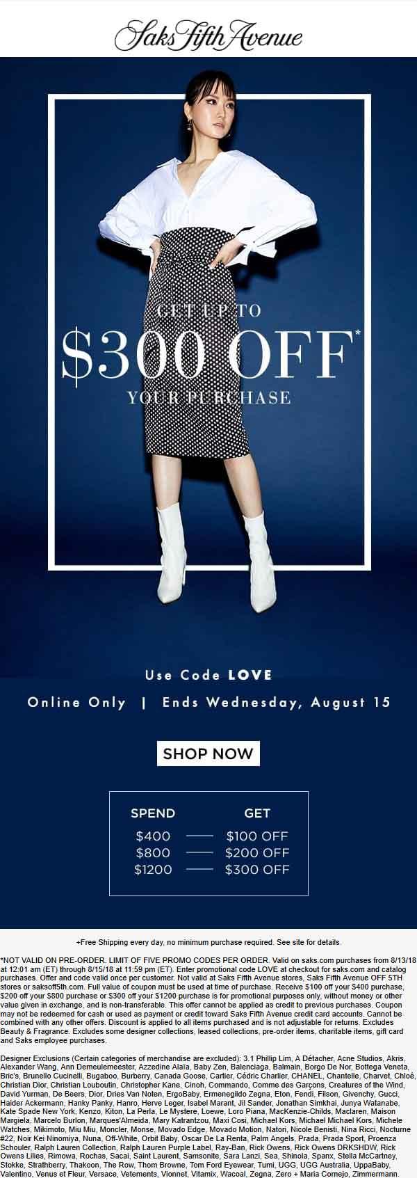SaksFifthAvenue.com Promo Coupon $100 off $400 & more online at Saks Fifth Avenue via promo code LOVE