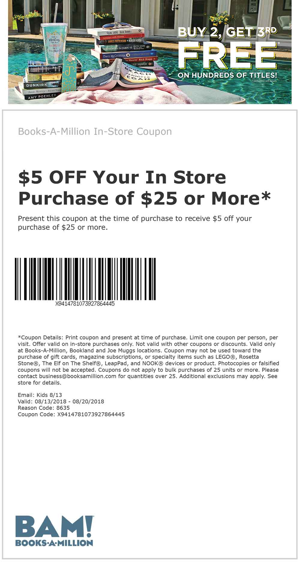 Books-A-Million.com Promo Coupon $5 off $25 at Books-A-Million, or $10 off $50 online via promo code BAM50