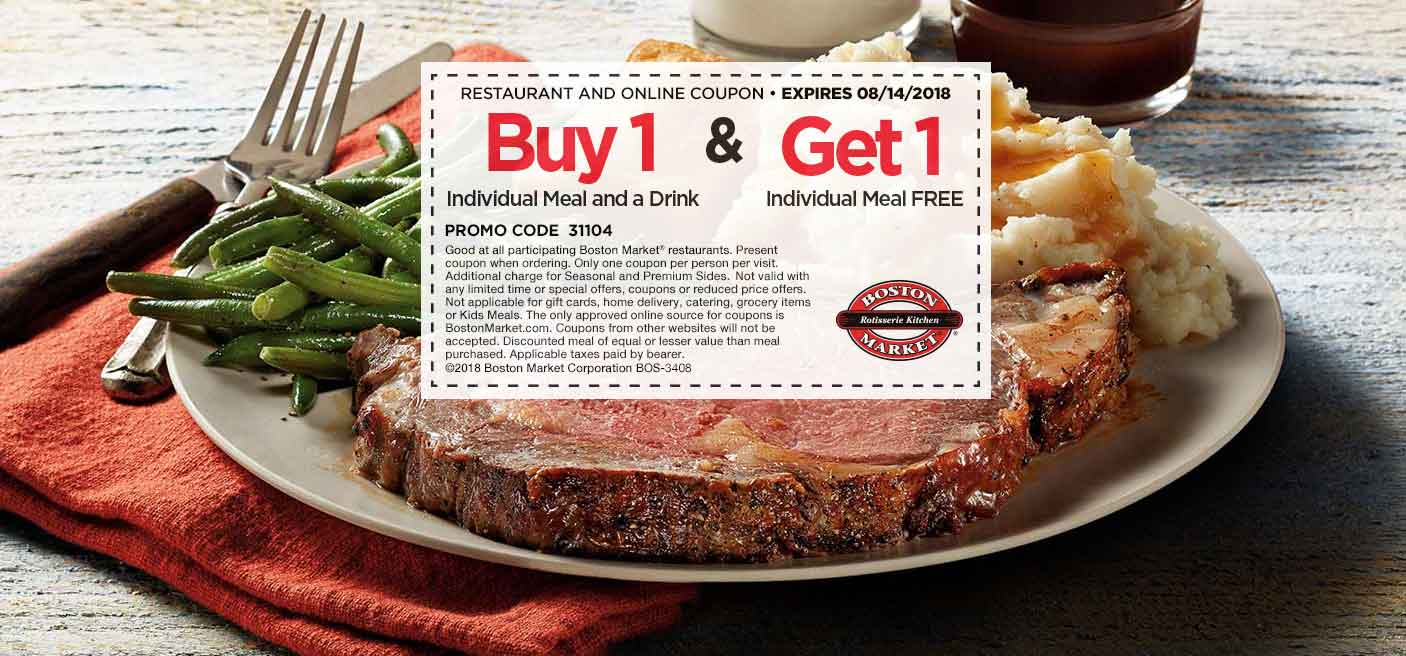 Boston Market Coupon February 2019 Second meal free today at Boston Market