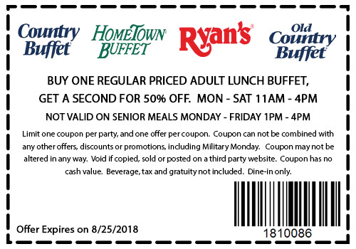 HometownBuffet.com Promo Coupon Second lunch buffet 50% off at Ryans, HomeTown Buffet & Old Country Buffet